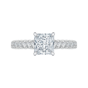 Princess Cut Diamond Cathedral Style Engagement Ring CARIZZA CAP0039E-37W