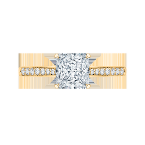 Princess Cut Diamond Solitaire with Accents Engagement Ring CARIZZA CAP0040E-37