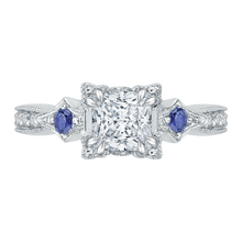 Load image into Gallery viewer, Sapphire Semi-Mount Princess Cut Diamond Engagement Ring CARIZZA CAP0046E-S37W