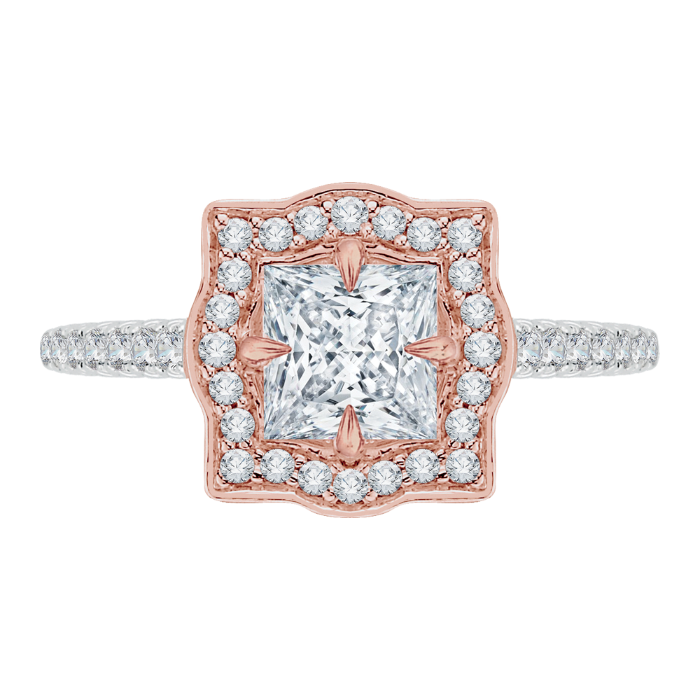 Semi-Mount White & Rose Gold Princess Diamond Engagement Ring CARIZZA CAP0047E-37WP