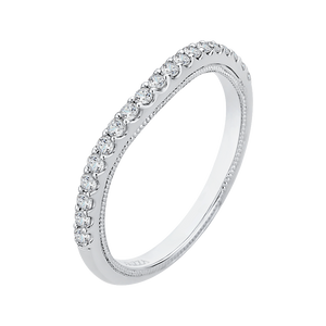 White Gold Round Wedding Band CARIZZA CAQ0193BH-37W-1.50