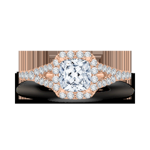 Load image into Gallery viewer, Rose Gold Cushion Cut Diamond Halo Engagement Ring CARIZZA CAU0033E-37P