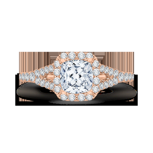 Rose Gold Cushion Cut Diamond Halo Engagement Ring CARIZZA CAU0033E-37P