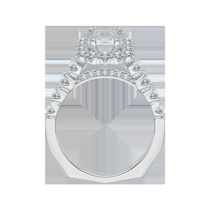 Cathedral Style Cushion Diamond Engagement Ring CARIZZA CAU0039E-37W
