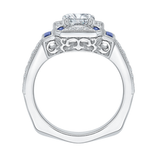 Load image into Gallery viewer, Sapphire Gemstone Cushion Cut Diamond Halo Engagement Ring CARIZZA CAU0064E-S37W