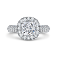 Load image into Gallery viewer, Cushion Diamond Halo Cathedral Style Engagement Ring CARIZZA CAU0086E-37W