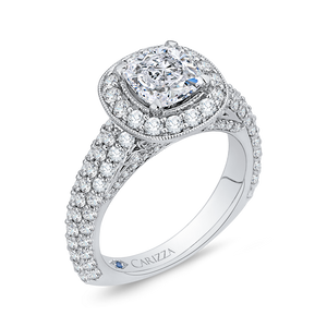 Cushion Diamond Halo Cathedral Style Engagement Ring CARIZZA CAU0086E-37W