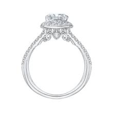Load image into Gallery viewer, Split Shank Cushion Cut Diamond Halo Engagement Ring CARIZZA CAU0093E-37W
