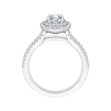 Load image into Gallery viewer, Double row Cathedral Style Cushion Diamond Halo Engagement Ring CARIZZA CAU0127E-37W