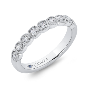 Migrain Bezel Diamond Wedding Band CARIZZA CAU0456BH-42W-1.10