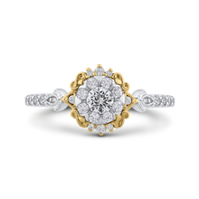Load image into Gallery viewer, Round White Diamond Double Flower Fashion Ring Luminous ES0910ECT-42WY
