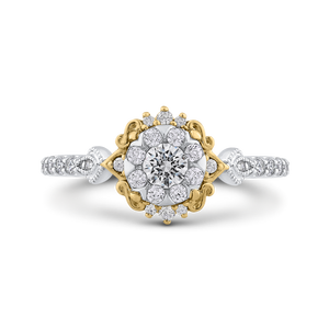 Round White Diamond Double Flower Fashion Ring Luminous ES0910ECT-42WY