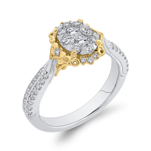 Load image into Gallery viewer, Yellow and White Gold Floral Fashion Ring Luminous ESO0911ECT-42WY