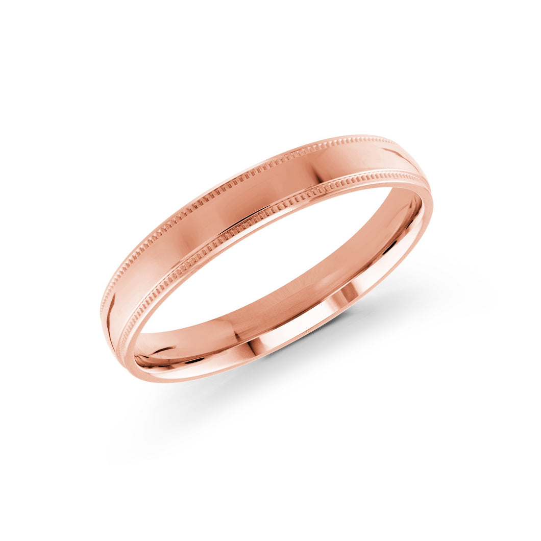 3mm Pink Metal Milgrain Carved Malo Plain Band J-103-03PG