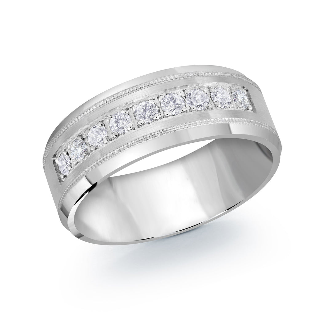 White Gold Channel Set Diamond Wedding Band JMD-1095-8W45