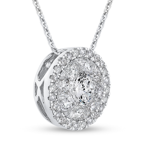 Round Diamond Halo Pendant with Chain Luminous LUPE0019-42W-2.00