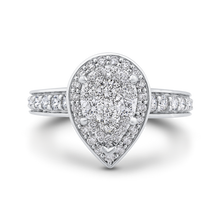 Load image into Gallery viewer, Round Diamond Pear Shape Halo Engagement Ring Luminous LURA0073-42W-1.00