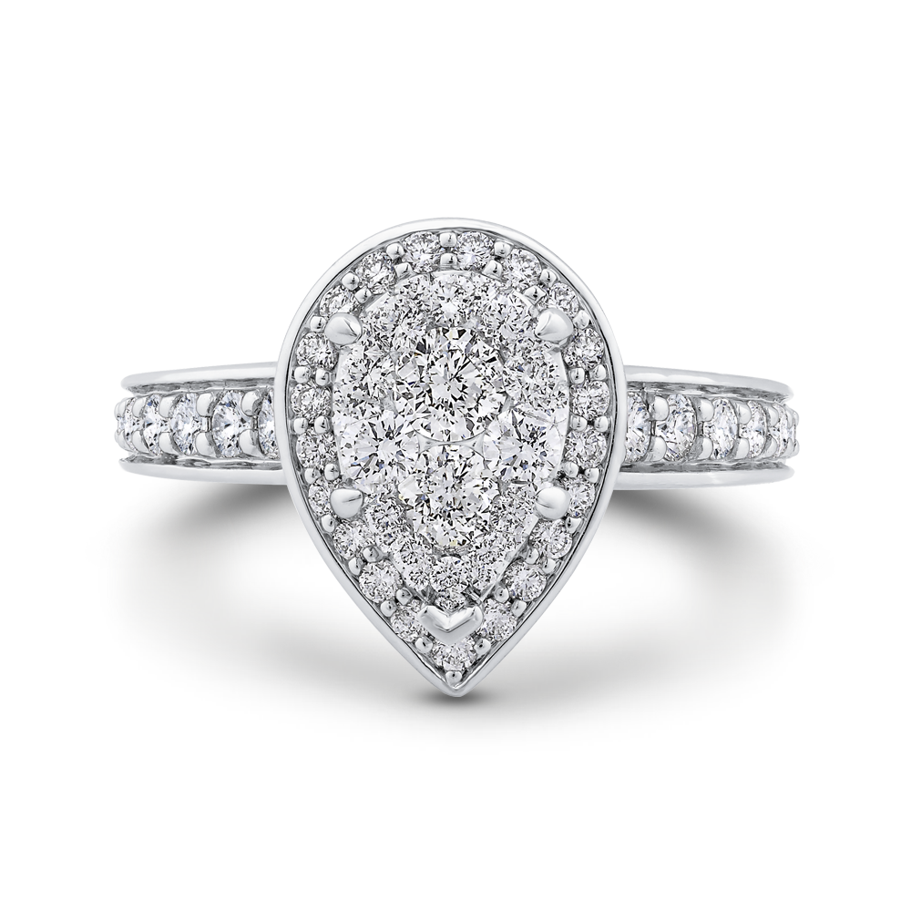 Round Diamond Pear Shape Halo Engagement Ring Luminous LURA0073-42W-1.00