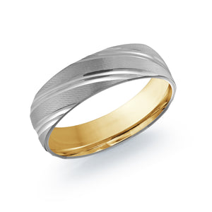 Two Color Metal Carved Men's Wedding Band LUX-012-6WZY