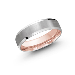 Two Color and Double Polish Men's Wedding Band LUX-1105-6WZP