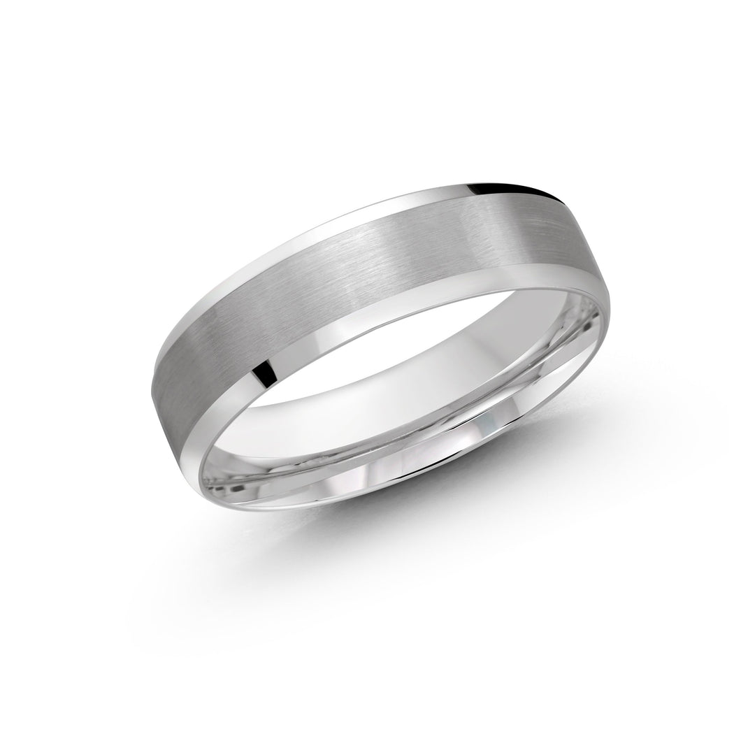 Satin and High Polish Men's Wedding Band LUX-1105-6W