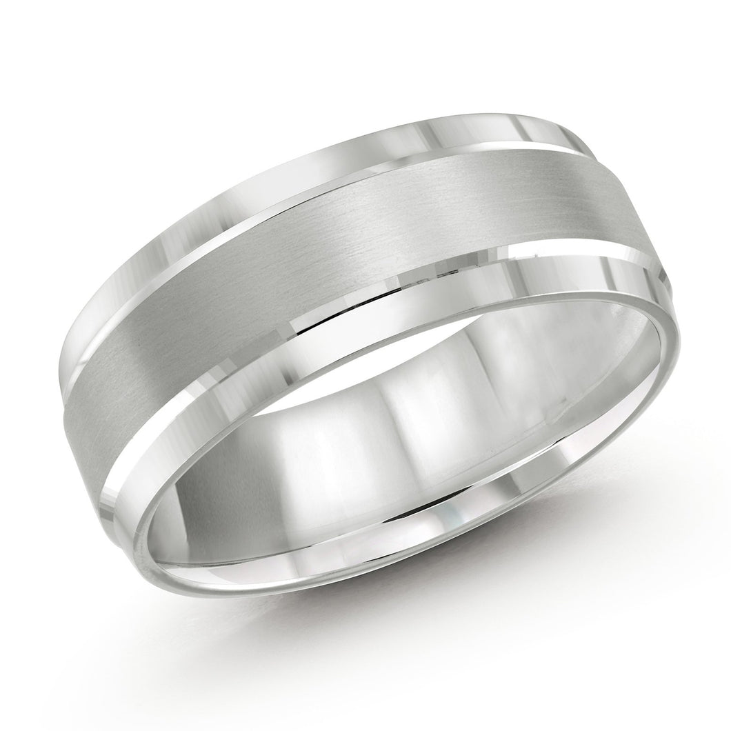 Double Polish White Metal Men's Wedding Band LUX-418-8W