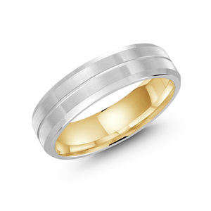 Satin Finish Two Color Split Men's Malo Wedding Band LUX-697-6WZY