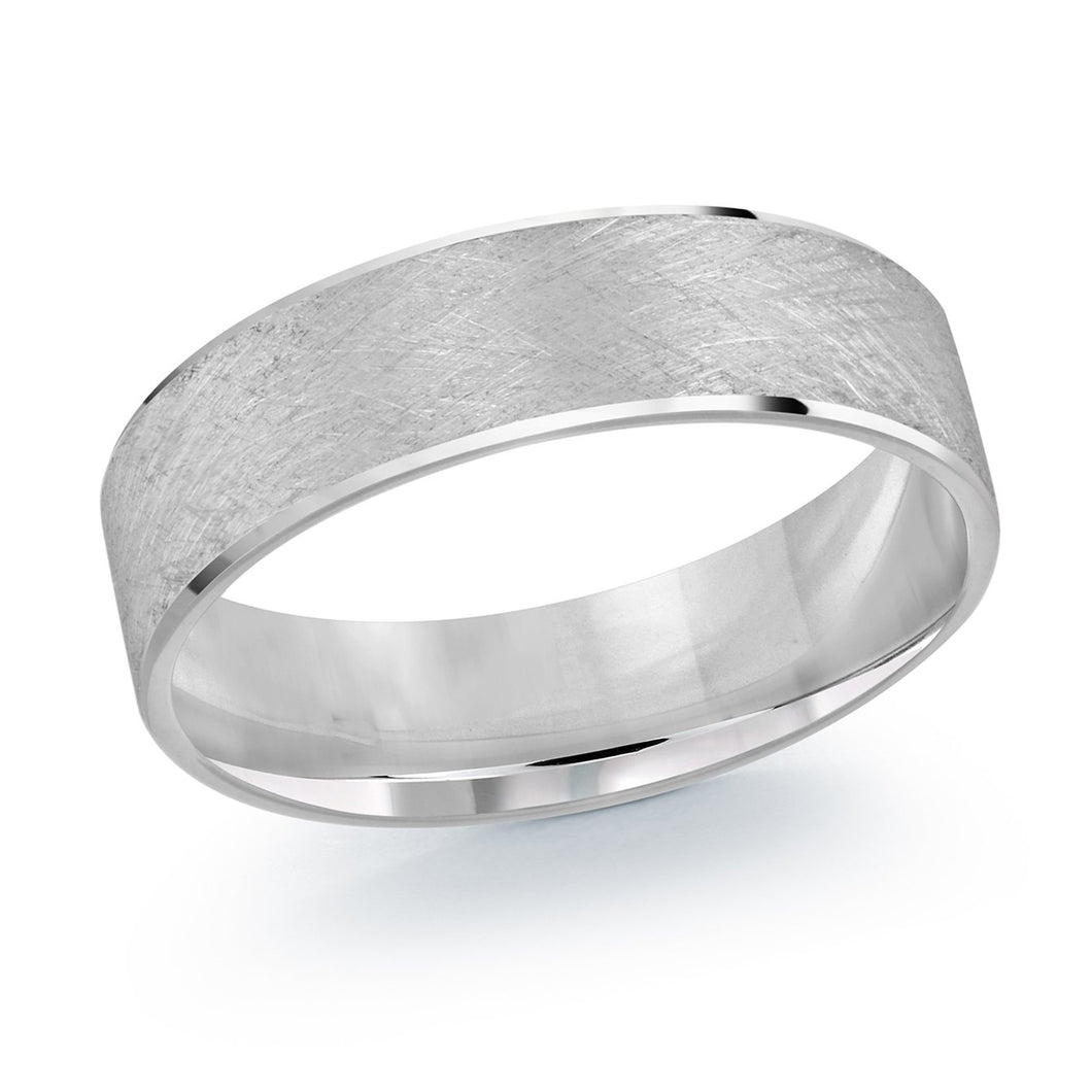 White Metal Satin and High Polish Men's Wedding Band LUX-974-6W