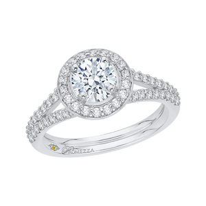 Split Shank Round Diamond Engagement Ring Promezza PR0016EC-02W