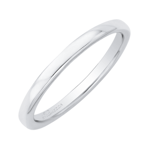 White Gold Plain Sleek Wedding Band Promezza PR0020B-W-.25