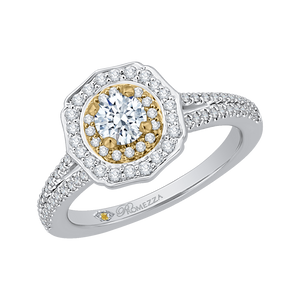 Two-Tone Gold Double Halo Engagement Ring Promezza PR0085EC-44WY