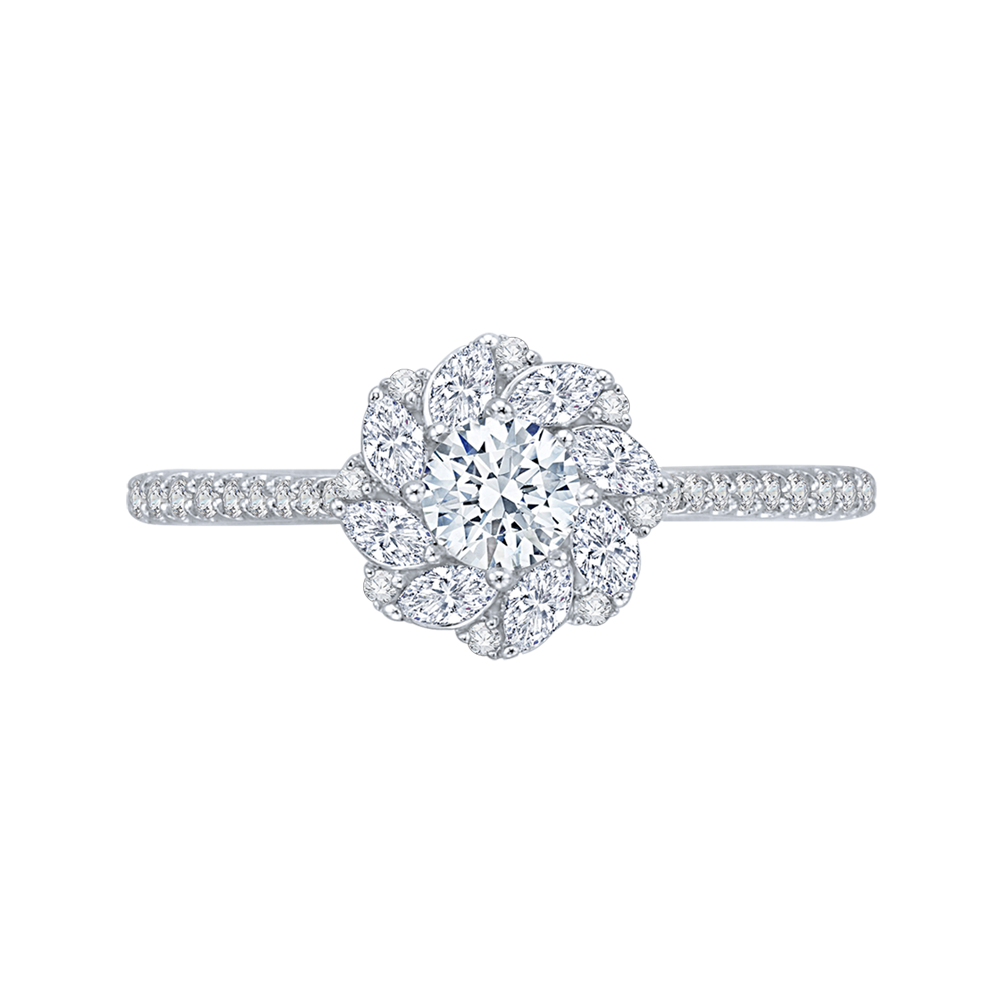Floral Halo Engagement Ring with Round Diamond Promezza PR0090EC-44W