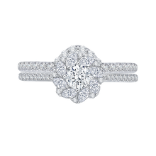 Load image into Gallery viewer, Floral Halo Engagement Ring with Round Diamond Promezza PR0090EC-44W
