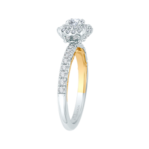 Yellow and White Gold Double Halo Engagement Ring Promezza PR0098ECH-44WY-.25