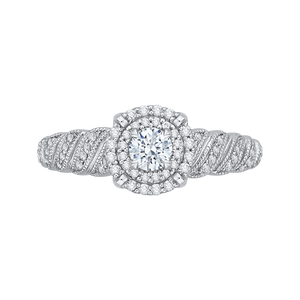 Braided Row Double Halo Floral Engagement Ring Promezza PR0108ECH-44W-.25