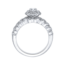 Load image into Gallery viewer, Braided Row Double Halo Floral Engagement Ring Promezza PR0108ECH-44W-.25