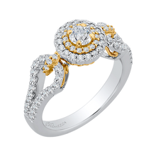 Load image into Gallery viewer, Yellow and Gold Double Halo Engagement Ring Promezza PR0127ECH-44WY-.25