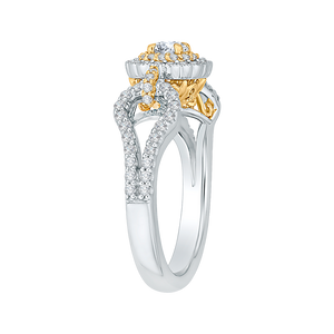 Yellow and Gold Double Halo Engagement Ring Promezza PR0127ECH-44WY-.25