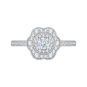 Floral Halo Diamond Engagement Ring Promezza PR0134ECH-44W-.25