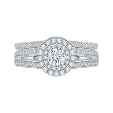 Load image into Gallery viewer, Split Shank Double Halo Engagement Ring Promezza PR0136ECQ-44W-.33
