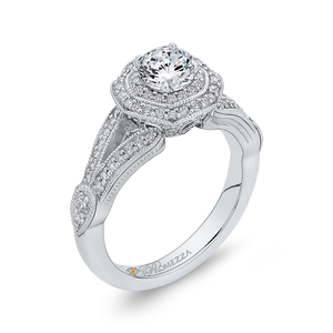 Split Shank Double Halo Engagement Ring with Round Diamond Promezza PR0174EC-44W-.50
