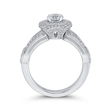 Load image into Gallery viewer, Split Shank Double Halo Engagement Ring with Round Diamond Promezza PR0174EC-44W-.50