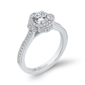 Halo Engagement Ring with Round Diamond Promezza PR0178ECH-44W-.50