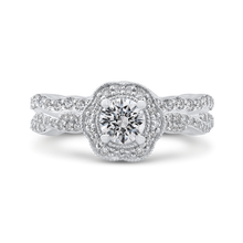Load image into Gallery viewer, Criss-Cross Shank Floral Halo Engagement Ring Promezza PR0179ECQ-44W-.50
