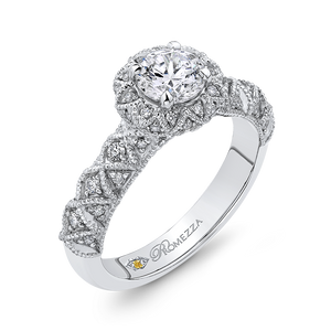 Floral Halo Round Diamond Engagement Ring Promezza PR0180ECH-44W-.75
