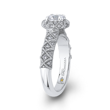 Load image into Gallery viewer, Floral Halo Round Diamond Engagement Ring Promezza PR0180ECH-44W-.75