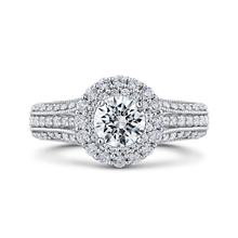 Load image into Gallery viewer, Three Row Vintage Engagement Ring with Double Halo Round Diamond Promezza PR0181EC-44W-.50