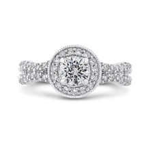 Load image into Gallery viewer, Split Shank Round Diamond Halo Engagement Ring Promezza PR0183ECH-44W-.50