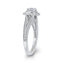 Load image into Gallery viewer, Split Shank Oval Halo Engagement Ring with Round Diamond Promezza PR0190ECH-44W-.50