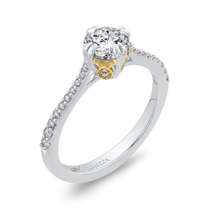 Round Diamond Engagement Ring with Two Tone Gold Promezza PR0205ECH-44WY-.75